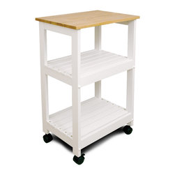 Catskill Craftsmen - Catskill White Kitchen Trolley - Utility Cart with Two Slatted Shelves - Sturdy and stylish microwave cart fits any decor.  Locking caster wheels keep it in place. Two slatted wood shelves in addition to lacquered hardwood top.