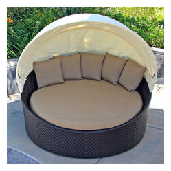 Wink Modern Outdoor Canopy Daybed, Beige Cushion