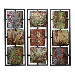 UMA - Vineyard Scrollwork Three-Panel Metal Wall Art - A set of three 3D metal wall hangings, each with three color-rich vine-covered textured panels mounted on a stylish grid