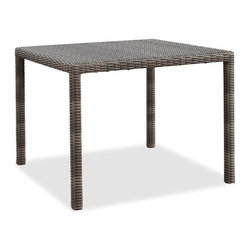 Thos. Baker - Wicker Outdoor Gathering Table   Hampton Collection - Oversized seating in all-weather wicker with a slightly weathered look inspired by classic whitewashed country home styles. Premium, dyed-through resin wicker with an extra large diameter profile and elegant ocean gray finish. Powder-coated aluminum subframe and brushed aluminum feet.Plush Sunbrella cushion sets included where applicable. Choose quick ship in khaki with cocoa piping, stone green or choose from our made-to-order fabric options.Made-to-order cushion sales are final and ship in 2-3 weeks.Dining tables do not have holes for umbrellas. All dining tables ship with tempered glass.