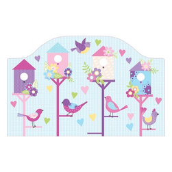 """Brewster Home Fashions - Chirping The Day Away Headboard Decal - Add a happy touch to the room with this sweet bird theme peel and stick headboard. A headboard is a lovely way to bring the whole room together adding a special finishing touch to make the bed a welcoming focal point. Five beautiful birds are arranged in their charming neighborhood of colorful homes set on a sky of polka dots and hearts. Your sweetheart will love the look of this happy headboard decal. Measures 26""""x41"""""""