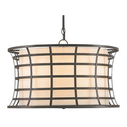 Currey & Company - Coleville Chandelier - The Coleville Chandelier displays the softer side of industrial chic by way of its ambient Off White Linen shade and diffuser. The Bronze Gold finishing of the wrought iron frame contrasts with the linen beautifully.