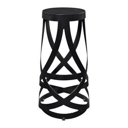 """LexMod - Ribbon Bar Stool in Black - Ribbon Bar Stool in Black - Positioned firmly atop the impossible, Ribbon makes it easy to go where you didnt think you could. Molded from reinforced strips of coated aluminum, the stool introduces just the right amount of complexity to your environment, without appearing too busy and chaotic. Ribbon is the stool just right for the rebellious side of you. Not too ostentatious, but ever one to impress. Set Includes: One - Ribbon Stool Perfect in living or lounge areas, Powder coated steel strips and seat, Interwoven strip design, Comes fully assembled, Lightweight and durable Overall Product Dimensions: 15""""L x 15""""W x 30""""H - Mid Century Modern Furniture."""