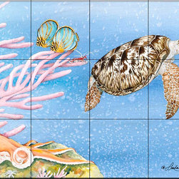 The Tile Mural Store (USA) - Tile Mural - Sea Turtle Ii - Kitchen Backsplash Ideas - This beautiful artwork by Linda Lord has been digitally reproduced for tiles and depicts a Sea Turtle swimming near some coral.  Our tiles with sea turtles are a great way to add something unique to your kitchen backsplash tile project. Make your tub and shower surround bathroom tile project exceptional with one of our decorative tile murals of sea turtles. Decorative tiles with turtles are beautiful and timeless and will never go out of style. Make a seaturtle tile mural part of your bathroom wall tile and enjoy this tile mural every day in your newly renovated bathroom.