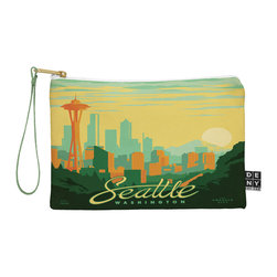 DENY Designs - DENY Designs Anderson Design Group Seattle Pouch - You name it, DENY's Pouches hold it! Available in two sizes and styles, you can use our water repellent pouches for cosmetics, perfume, jewelry, pencils and even an Ipad mini! And did we mention that the small size doubles as a wristlet? With a coordinating color strap and interior lining, you can throw it into a larger bag or use it on the go as a clutch to hold your phone, credit cards and various other essentials. It's a party in a bag!