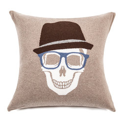 Rani Arabella - Rani Arabella Azure Skull Hat Cashmere Blend Pillow, Beige - Add a bold, quirky print to your living or dining room using the Skull Hat Cashmere Blend Pillow. Made from 70% cashmere and 30% wool, this pillow features a white skull image with glasses and fedora against a beige background. The bright blue glasses add a welcome pop of color. Pair it with neutral-toned decor for a cohesive, but eye-catching look. Includes a 50% down and 50% polyester insert. Dry clean only. Made in Italy.