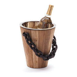 Go Home - Go Home Black Chain Ice Bucket - Enjoy your favorite beverages at their best by storing them in this Tuscan Villa Ice Bucket. It is designed so well that it won't occupy much of your space either placed over a bar top, table top or a buffet. This elegantly stylish bucket from French country chic collection can make your home bar more vibrant. The craftsman of the vintage chic home has given it natural teak finish. Made with the sturdy materials like Reclaimed Teak Wood, Iron, Stainless Steel, this bucket is less prone to damage or breakage. It is completed with the chain type handle that is enhancing its appeal even more.