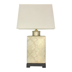 "Oriental Furniture - 24"" Finch in the Blossoms Porcelain Lamp - Fine quality oriental style lighting in a contemporary ""flattened"" wall lamp design. Rectangular wood base, tea caddy jar and shade, perfect for this distinctive desk top, buffet top, or sofa table top lamp light. Elegant accent lighting at an exceptionally affordable price."