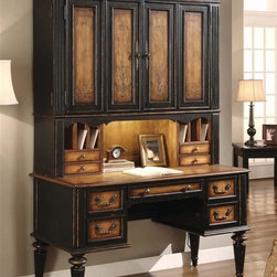 Hooker Furniture - North Hampton Hand Painted Wood Desk w 2-Door - Destined to become a treasured family heirloom, this two-piece desk and hutch set will bring a classic elegance to any decor. Constructed of hardwood solids and maple veneer in a vibrant two-tone finish, the set includes a four-door hutch with hand painted accents and a desk with a task light and cubbyholes to keep your space organized and orderly. Includes desk and hutch. Hutch with two double-hinged wrap-around doors. Two adjustable or removable shelves inside. Thick back panel. Left and right side has two drawers. Task light in center. Charging station with three electrical outlets. Desk with one file drawer. Two utility drawers with partitions. Drop-in sectioned tray in the top drawer. Drop-front drawer for keyboards or lap tops. Hand painted. Made from hardwood solids with maple veneers. Black finish with rub-through on base. Desk: 51 in. W x 25 in. D x 30 in. H (172 lbs.). Hutch: 53.5 in. W x 14 in. D x 52 in. H (178 lbs.). Keyboard Drawer: 20 in. W x 15 in. D x 2.50 in. H. TV Mount Area: 47 in. W x 29 in. H. Assembly Instruction for Desk and Hutch