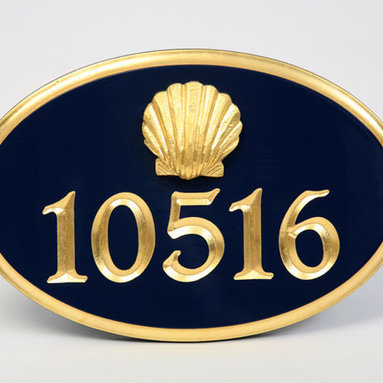 Gold-Leaf House Number Sign with Scallop Shell by Chatham Sign Shop - A sophisticated twist on the nautical home number, this is very classic and would be the perfect way to set the tone for the rest of the home.
