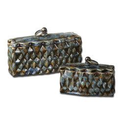 Uttermost - Crackled Blue Neelab Boxes Set of 2 - Crackled Blue Neelab Boxes Set of 2