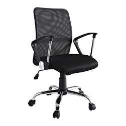 LexMod - Pilot Office Chair in Black - Steer your way to a simple yet affordable seating experience. With a mesh screen back and padded seat and fashionably rounded dual-toned arms, save money while gliding your way into work each day. Pilot comes with lumbar support, pneumatic height adjustment, a black nylon base, dual wheel carpet casters and a full 360 degree swivel.