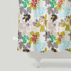Watercolor Daisies Shower Curtain - The olive green, gray and fresh turquoise color combo on this watercolor shower curtain is just lovely.