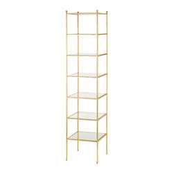 Currey & Co - Currey & Co 4130 Delano Gold Leaf Narrow Etagere - This fabulous Currey & Co 4130 Delano Gold Leaf Narrow Etagere is just the thing for that special place where something needs to be, but nothing else seems to fit. Created in sturdy wrought iron covered in genuine gold leaf and offering seven tempered glass panels, this ̩tag̬re will fill any corner to perfection, yet can also stand proudly as a beautiful piece of practical art away from a wall as well.