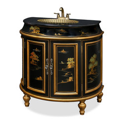 "China Furniture and Arts - French Commode Vanity Cabinet - Exotic gold highlighted Chinese landscape scenery is hand-painted in Chinoiserie motif on our French-inspired vanity. The sink is interestingly sculpted like a shell. A rich style that changes everyday living into art. Ready to install with built in black granite top, patina brass sink, and the brass faucet. (Counter top approximately 32""W x 20""D.)"