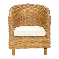 Safavieh - Omni Barrel Chair - Honey - It's a wrap. Surround yourself with the comfort and transitional style of the woven rattan Omni Barrel Chair. Crafted with mango wood and rattan in a honey oak finish with upholstered cotton seat cushion, it's the perfect place to dream the day away with a good book.