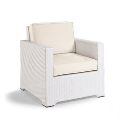 Frontgate - Palermo Balcony Outdoor Lounge Chair with Cushions in White Finish - Comfortably sized for balconies and smaller outdoor spaces. Handwoven premium resin wicker. Rust-resistant powdercoated frame. Cushions included. 100% solution-dyed acrylic and woven fabrics. Outstanding comfort and structural integrity make our Palermo Balcony Lounge Chair a welcome addition outdoors. White fibers are smoothly wrapped twice around the concealed powdercoated aluminum frame. The industry's best high-performing fabrics encase the thick, double-wrapped foam cushions.Part of the Palermo Collection...  .  .  .  . All-weather cushions have a high-resiliency foam core wrapped in plush polyester . Cushions also available with 100% waterproof Sunbrella Rain performance fabric.