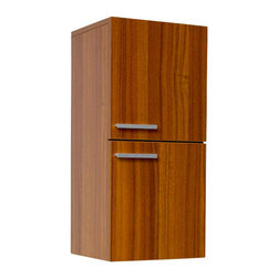 """Fresca - Black Bathroom Linen Side Cabinet, Teak - This great side cabinet comes with a Teak finish.  It features 2 storage areas with soft closing doors. Dimensions: 12.63""""W x 12""""D x 27.5""""H; Features: 2 Large Storage Areas w/ Soft Closing Doors; Finish: Teak; Hardware: Chrome; Assembly: Fully Assembled"""