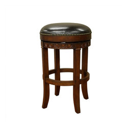 American Heritage - Portofino 34 in. Bar Stool in Suede and Merlo - Finished in Suede. Merlot Leather Cushion. Full-Bearing 360 Degree Swivel. Mortise and Tenon Construction. 3 in. Cushion. Individual Tacking. Floor Glides. Construction Material: Wood. No Assembly Required. 34 in. Seat Height. 1 Year Warranty. Seat Width: 19 inches. Seat Depth: 19 inches. 19.5 in. W x 20.75 in. D x 34.75 in. H