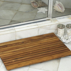 Square African Teak Wood Mat. - Shower Wood Floor Mat – Square African Teak Wood Mat.
