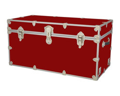 Artisans Domestic - Storage Toy Box in Red (44 in. L x 24 in. W x 22 in. H (69 lbs.)) - Choose Size: 44 in. L x 24 in. W x 22 in. H (69 lbs.). Include small ventilation holes and specially designed, American made two soft-close lid supports. Retro style. Artisans domestic superior quality and heavy-duty. Handcrafted and kid friendly. Designed for a child's well-being. Lined with cabinet grade birch. Heavy gauge steel trim and corner pieces. Leather strap handles for moving easily. Hasp for padlock. Waterproof, dent and scratch resistant. Made from 1000 denier cordura sheathing, baltic birch and laminate. Made in USASafety First! yet looks handsome in any room. This treasure chest incorporates several safety features. They are even strong enough to stand on! Now that's a great toy box!