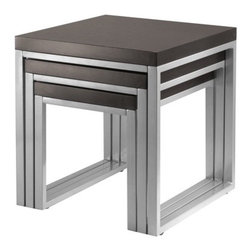 """Winsome - Jared 3 Piece Nesting Tables - For a modern theme home, use these occasional tables together or spread them out. Table legs are made of enamel steel. Features: -Set includes small, medium and large nesting table.-Top construction: MDF.-Leg construction: Enamel steel.-Black finish.-Jared collection.-Collection: Jared.-Distressed: No.-Top Finish: Espresso.-Powder Coated Finish: No.-Gloss Finish: No.-Base Material: Steel.-Top Material: Solid and composite wood.-Solid Wood Construction: No.-Hardware Material: Metal.-Nesting Tables: Yes.-Non-Toxic: Yes.-UV Resistant: No.-Scratch Resistant: No.-Stain Resistant: No.-Lift Top: No.-Storage Under Table Top: No.-Drop Leaf Top: No.-Magazine Rack: No.-Built In Clock: No.-Drawers Included: No.-Hardware Finish: Metal.-Exterior Shelves: No.-Cabinets Included: No.-Glass Component: No.-Legs Included: No.-Casters: No.-Lighted: No.-Stackable: No.-Reclaimed Wood: No.-Adjustable Height: No.-Outdoor Use: No.-Weight Capacity: 50 lbs.-Swatch Available: No.-Commercial Use: No.-Recycled Content: No.-Eco-Friendly: No.-Built In Outlets: No.-Cable Management: No.-Powered: No.Specifications: -FSC Certified: No.-EPP Compliant: No.-CARB Compliant: Yes.-ISTA 3A Certified: No.-ISTA 1A Certified: No.-General Conformity Certificate: No.-Green Guard Certified: No.-ISO 9000 Certified: No.-ISO 14000 Certified: No.-UL Listed: No.Dimensions: -Overall Product Weight: 39 lbs.-Overall Height - Top to Bottom: 20.8"""".-Overall Width - Side to Side: 20"""".-Overall Depth - Front to Back: 20"""".-Table Top Thickness: 1.57"""".-Legs: Yes.Assembly: -Assembly Required: Yes.-Tools Needed: All pieces are included.-Additional Parts Required : No.Warranty: -Product Warranty: Replacement parts within 60 days from date of purchase."""
