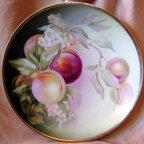Decorative Plate - Vintage Bavarian Handpainted Peach Leaves -