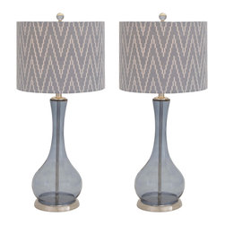 Urban Designs - Urban Designs Zig-Zag Handcrafted Glass Table Lamp - Set of 2 - Add stunning glamour and remarkable luxury to contemporary decor with these table lamps by Urban Designs. Perfect for virtually any space.