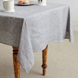 Fog Linen Work - Pinstripe Tablecloth - I've been looking high and low for a tablecloth to cover my much-loved table. This pinstriped design is classic, no-frills and modern.