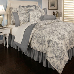 Sherry Kline - Sherry Kline Country Toile Blue 6-piece Luxury Comforter Set - A French toile ground is accented with a gingham reverse to bring country charm to this elegant comforter set by Sherry Kline. Crafted with pure cotton,this machine washable set features a comforter,bedskirt,two shams and two decorative pillows.
