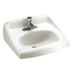 """American Standard - American Standard 0356.421.020 Lucerne Wall-Mount Sink, White - American Standard 0356.421.020 Lucerne Wall-Mount Sink, White. This wall-hung lavatory is constructed of vitreous china, and includes a front overflow, a concealed wall-hanger mounting, a D-shaped bowl, a self-draining deck area with contoured back and side splash shields, and a faucet ledge. This model comes with a single, centered faucet mounting hole, and it measures 20-1/2"""" by 18-1/4"""", with a 6-1/2"""" bowl depth."""
