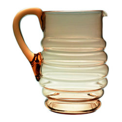 Lavish Shoestring - Consigned Blown Orange Glass Water Jug, Vintage English, 1930s - This is a vintage one-of-a-kind item.