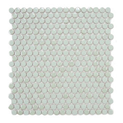 Somertile - SomerTile 11.25x12-in Posh Penny Round Mint Porcelain Mosaic Tile (Pack of 10) - Add a lovely touch to your indoor or outdoor space with this pack of mint-colored, porcelain mosaic tiles from SomerTile. A case of ten classic, penny-round mosaics complete this set.