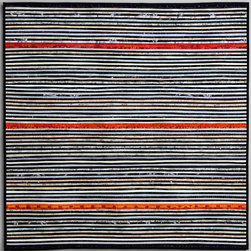 "Ann Brauer - Quilts--abstract and intense - Yes, this quilt is pieced of thin strips of cotton fabric that alternate in color between black and white. I love the small hints of texture that show in this piece. 36 x 36"" John Polak"