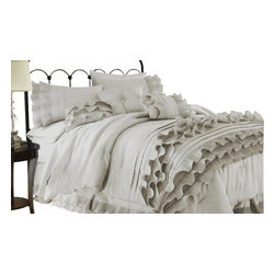 Anastacia Pearl 8-piece Comforter Set Queen Pearl White - Comforter sets aren't just for sleeping. They can also be regarded, like armoires and suits of armor, as a practical piece of art for the bedroom. This eight-piece set includes euro shams, decorative pillows, pillow shams, and a tailored bed skirt, not to mention an oversized, overfilled comforter wrapped in 100% polyester.