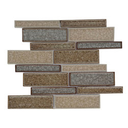 Crackle Brown Glass Mosaic Waterfall Tile CM04 - Crackle Brown Glass Mosaic Waterfall Tile CM04