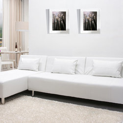 None - Atlanta White Convertible Sectional Sofa Bed - This sofa has a split seat back for flexibility,extra thick cushion for comfort and premium polyurethane leatherette and durability. When both the sofa and chaise are in bed flat position,they can be used as a sleeping area.