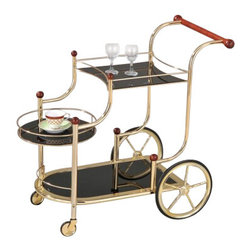 "Acme - Mace Golden Brass Plated Metal Finish Tempered Glass Shelves Tea Service - Mace golden brass plated metal finish and black tempered glass shelves tea serving cart with casters. Measures 38"" x 21"" x 33""H. Some assembly required."