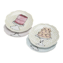 Rosanna - Rosanna Eat Dessert First Dessert Plates, Set of 4 - Happy moments of all sorts provide the perfect opportunity to use these dishes decorated with sweet designs. Whether celebrating a birthday or a delicious meal, the message comes through: Eat dessert first!