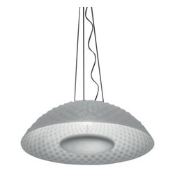 """Artemide - Artemide Cosmic Rotation Suspension Lamp - The Cosmic Rotation Suspension Lamp was designed by Ross Lovegrove for Artemide. This new fixture features an injection-molded methacrylate diffuser with a painted aluminum lighting unit. Painted metal ceiling support. UL LISTED.  Product Details:  The Cosmic Rotation Suspension Lamp was designed by Ross Lovegrove for Artemide. This new fixture features an injection-molded methacrylate diffuser with a painted aluminum lighting unit. Painted metal ceiling support UL LISTED.  Details:      Manufacturer:     Artemide      Designer:    Ross Lovegrove      Made in:    Italy      Dimensions:     Height: 78 3/4"""" (200 cm) X Diameter:  29 15/16"""" (76 cm)       Light bulb:     2 X  42W GX24q-4/T4 Fluorescent      Material:     Aluminum, Methacrylate"""