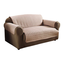 Home Savings - Quilted, Water Resistant Furniture Protector, Cream, Love Seat - Protects against pets and spills that cause irreversible damage to your living room. These furniture protectors will  increase the life of your furniture!