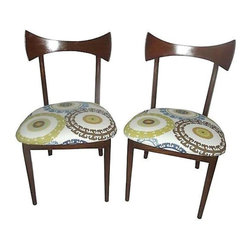 Pre-owned Vintage 1950s Danish Modern Chairs - Cool yet extremely stylish 1950s Danish Modern Chairs by Lawrence Peabody.  These chairs are upholstered in a beautiful and colorful canvas material.  They are sure to make a great vintage addition as accent chairs or mismatched with other chairs at the dining table.