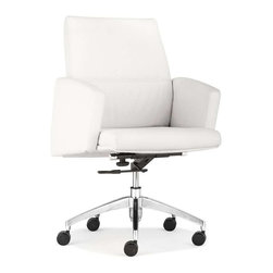 Zuo Modern - Zuo Modern Chieftain Low Back Office Chair, White - Imposing on its rolling steel frame, the Chieftain Office Chair will take you to the top. Go with the black for power or white for elegance. Comes with a high or low back.