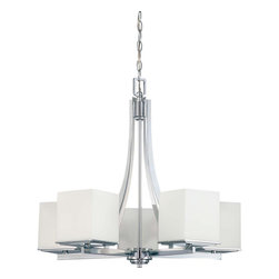 Nuvo Lighting - Nuvo Lighting 60-4086 Bento 5-Light Chandelier with Satin White Glass - Nuvo Lighting 60-4086 Bento 5-Light Chandelier with Satin White Glass