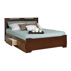 "Prepac - Prepac Coal Harbor Queen Platform Storage Bed with Headboard in Espresso - Prepac - Beds - EBQ62003KVKIT - Make your bed the most versatile urban piece in your bedroom with the Coal Harbor Queen Mate's Platform Storage Bed with 6 Drawers. Store your linens shoes and other bedroom items in six 18"" deep drawers (three per side) and take the pressure off your dresser. This mate's bed will suit any room layout and doesn't need a box spring thanks to the slat support system that only requires your mattress. As a final touch the footboard's angular shape echoes the detail seen in the other members of the Coal Harbor Bedroom Collection making it easy to unify your bedroom's style.Pair this storage bed with the Coal Harbor Flat Panel Headboard. The two curved eye-catching cut-outs lend a subtle elegance to the headboard and echo the angular shapes on the other collection pieces.  This flat-panel headboard is specifically designed to attach to Prepac's Full and Queen Platform Storage Beds. Simply remove the screws at the head of the bed and attach the headboard directly."