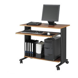 Safco - Muv 35 in. Fixed Height Workstation in Cherry - On casters for easy mobility, this fixed height workstation will be a versatile choice for your home or commercial office decor. Crafted of steel with molded side panels for hidden cord management, the unit has pressed wood shelves with a laminate coating in cherry finish. Two locking dual wheel carpet casters. Four casters. Decoratively molded side panels that hide cables to keep your station clean. The keyboard shelf extends and retracts under the work surface when not in use. Frame made from steel. Shelves made from compressed wood. Powder coat frame and melamine laminate finish. Weight Capacity: 100 lbs. (Desk Top), 25 lbs. (Keyboard Tray). Keyboard Shelf Dimensions: 30.75 in. W x 13.5 in. D. Worksurface Height: 30.5 in.. Worksurface Dimensions: 35.5 in. W x 19.75 in. D x 0.75 in. H. Overall: 35.5 in. W x 22 in. D x 30.5 in. H (45 lbs.). Assembly InstructionWhat's your Muv? No matter the setting the Muv workstation is the right choice. This mobile workstation is great in the computer lab, library, media center, server room, classroom, faculty lounge, print shop or conference room. It's your Muv.