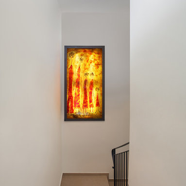 Abstract backlit wall glass painting - Galilee lighting - Modern backlit glass painting