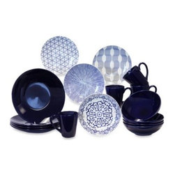 Baum - Baum Brothers 16-Piece Dinner Set in Blue/White - Bring personality and life to your table with the Baum Brothers Blue and White Dinner set. Each salad plate features a different pattern that will be sure to delight both you and your guests.