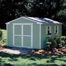 Handy Home - Handy Home Cumberland Storage Shed - 10 x 16 ft. - 18285-3 - Shop for Sheds and Storage from Hayneedle.com! Don't get a storage unit on the other side of town next to that creepy cement plant when you could add all the additional space you need with the Handy Home Cumberland Storage Shed - 10 x 16 ft. Inside this gable-styled structure of solid wood you'll have 1164 cubic feet of storage space to play with. 6-foot high side walls surround a peaked roof that tops out at 8-foot for plenty of tall storage. The wide double-door has a 64W x 72H-inch opening and comes pre-hung on full-length hinges and the exterior of each panel is pre-primed and just waiting for you to pick your favorite color of paint. This structure is available with or without a floor and includes detailed assembly instructions and the necessary hardware to get you started.About Handy HomeSince 1978 Handy Home has been making it easy and affordable for their customers to add storage sheds gazebos and playhouses to their homes. As North America's largest producer of wooden storage and recreational building kits Handy Home makes durable structures that require no sawing or drilling and can be delivered when and where their customers need them.
