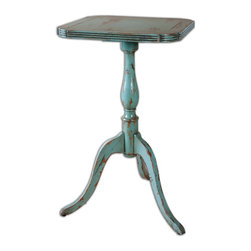 Robin's Egg Valent Blue Accent Table - *Petite, Carved Mango Wood With Mindi Veneer, Hand Finished In Robin's Egg Blue With Rubbed Through Distressing.